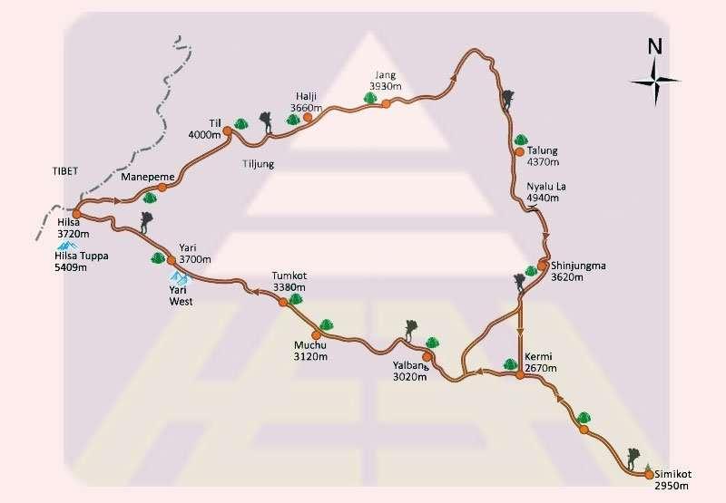 Limi Valley trekking map